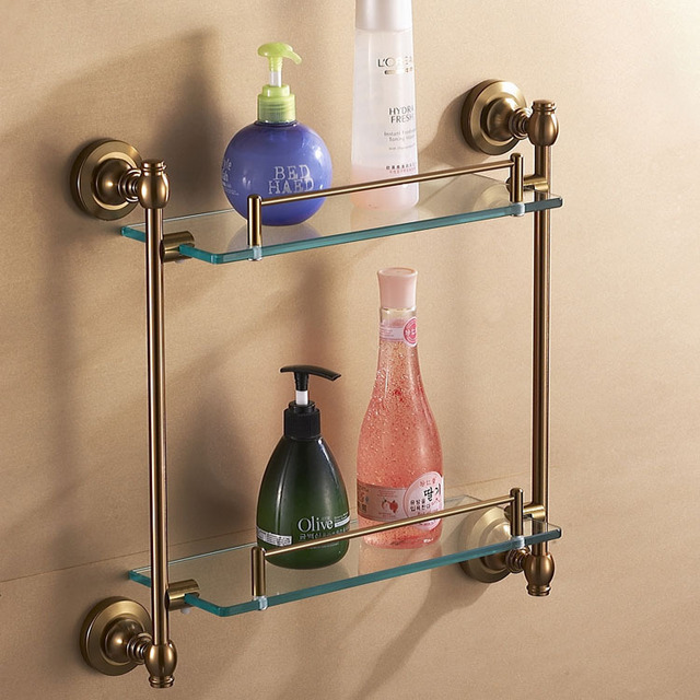 Dual tier glass shelf for bathroom antique brush brass surface finish space aluminum material