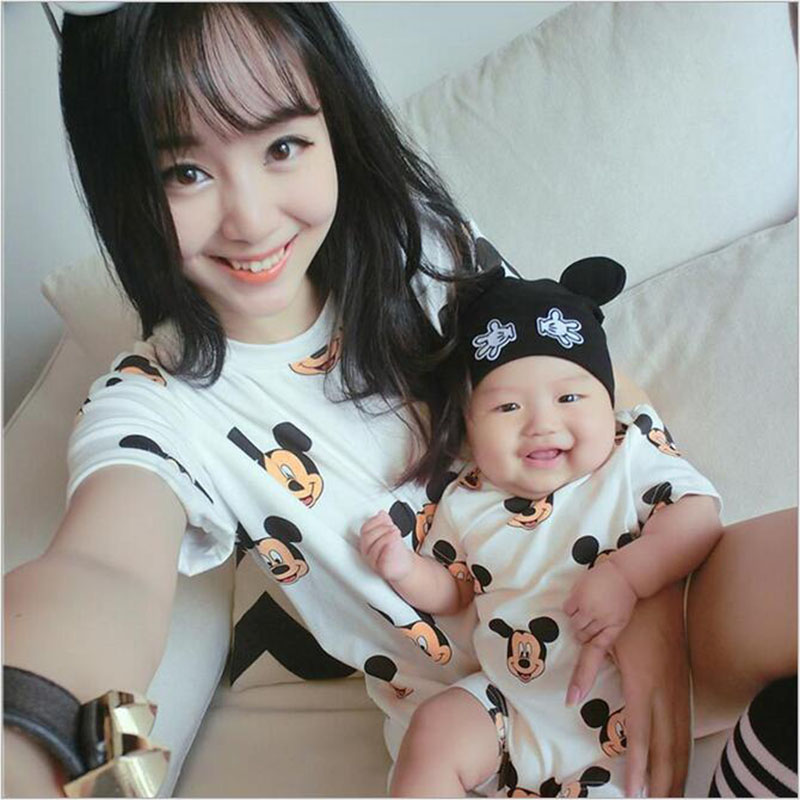 1PC 2017 New Summer Mother Dresses Baby clothes Family Matching Outfits dress and baby jumpsuit mother daughter clothes LL222
