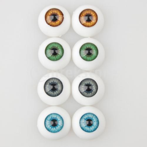 Free Shipping  8 Pcs Half Round Hollow Acrylic Doll Dollfie Eyes Eyeballs 16mm