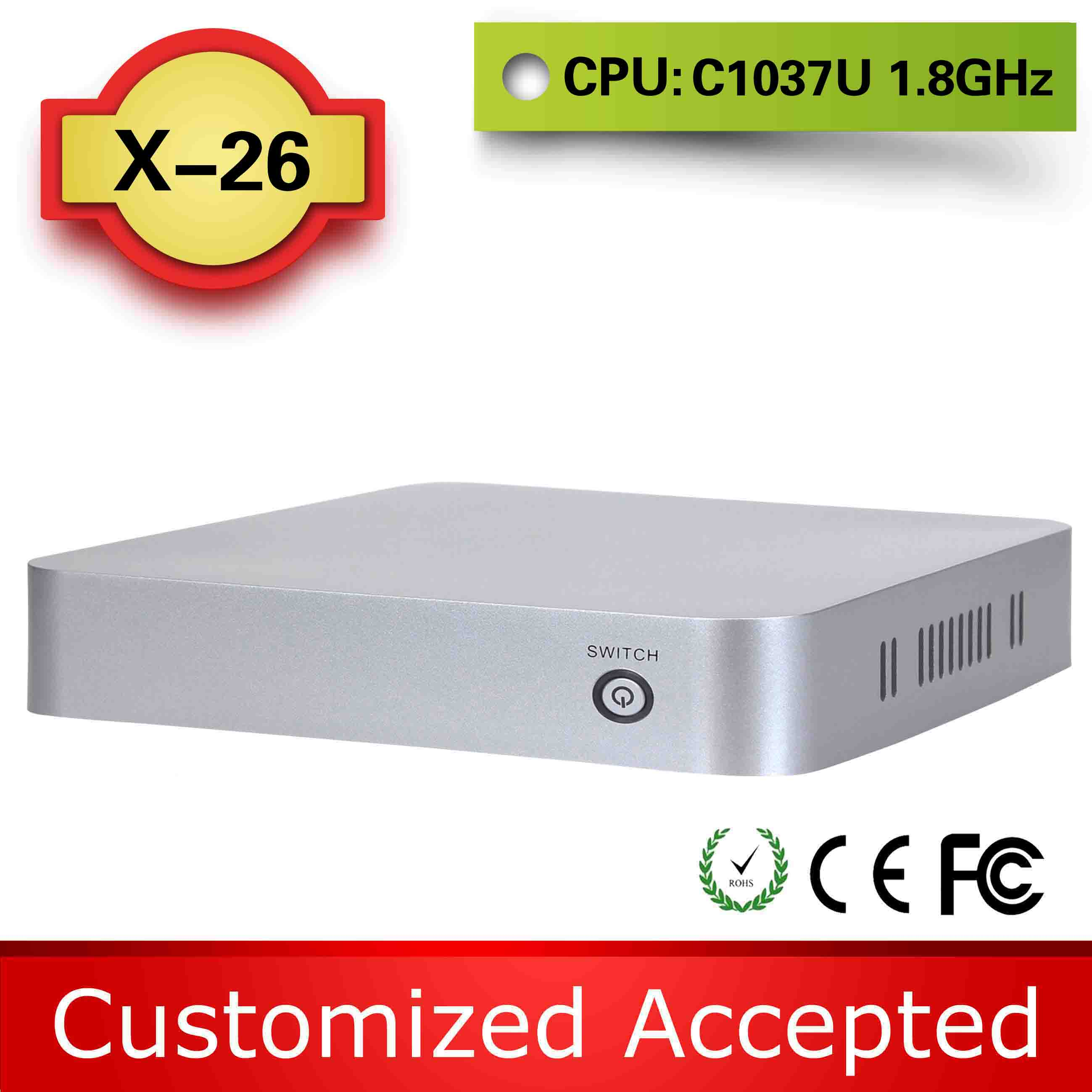 Highest cost effective C1037U 1.8GHz XCY X-26 pc station linux computer case support win 7 XP system(China (Mainland))