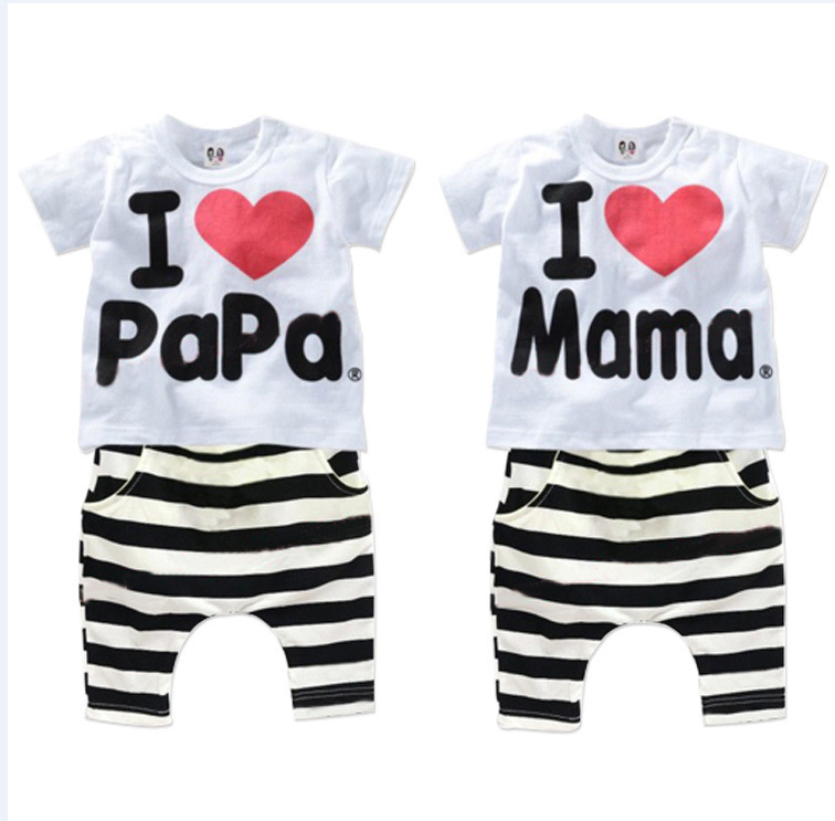 new 2014 boys and baby girls clothing set 100% cotton suit I Love Papa & Mama letters Short-sleeved T-shirt + striped PP pants(China (Mainland))