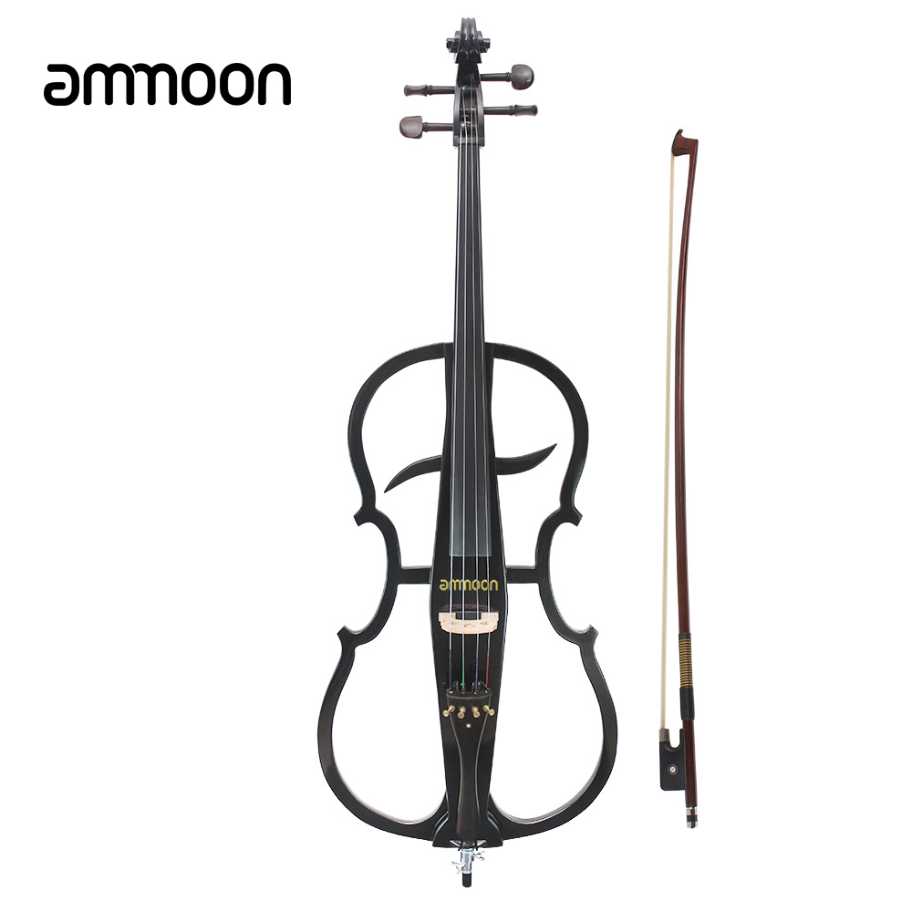 HOT 4/4ammoon Solid Wood Electric Cello Violoncello Ebony Fittings in Style 1 with Tuner Headphone Gig Bag Stringed Instruments(China (Mainland))