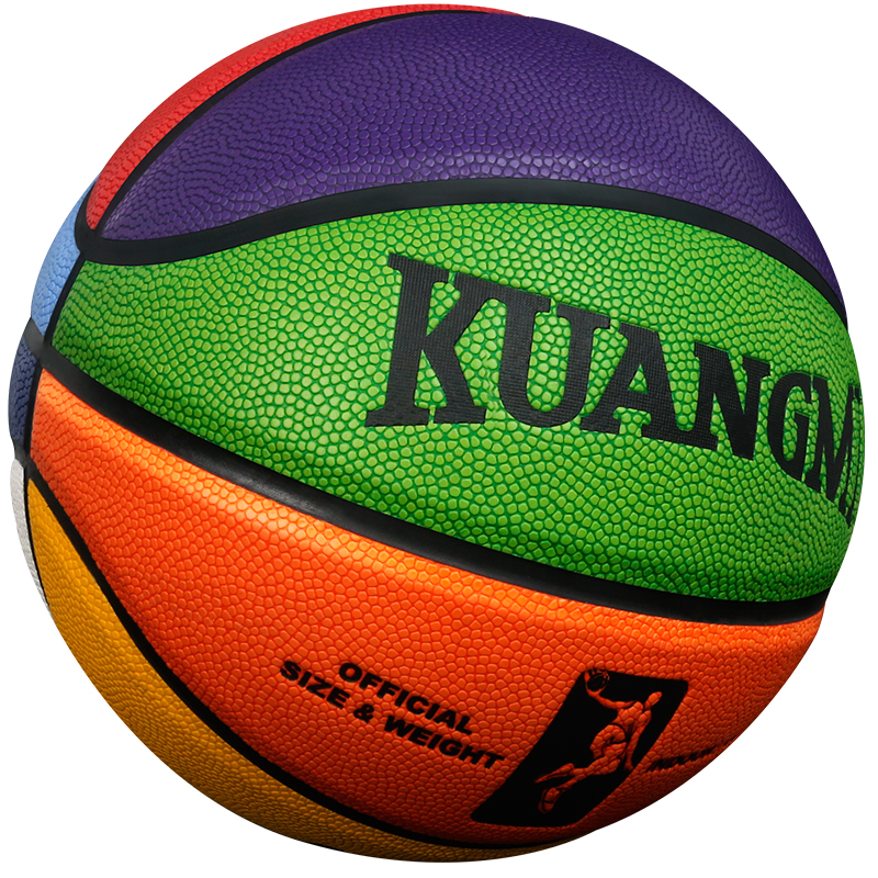 Kuangmi Rainbow Colors PU Leather Basketball Ball High Quality Official Basketball Size 7 Size 6 Size 5(China (Mainland))