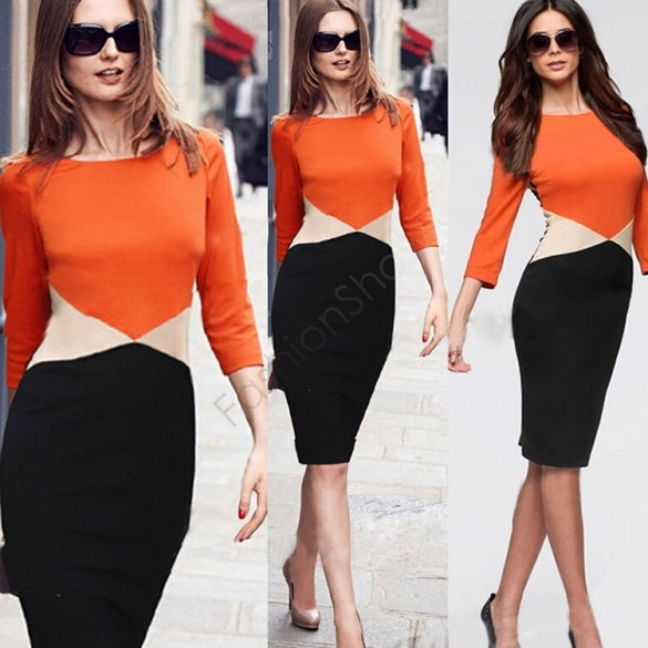 Office Dress Women Summer Casual Party Bodycon Pencil Dresses Colorblock Formal Ladies Work Clothes Fashion Vestidos 35(China (Mainland))