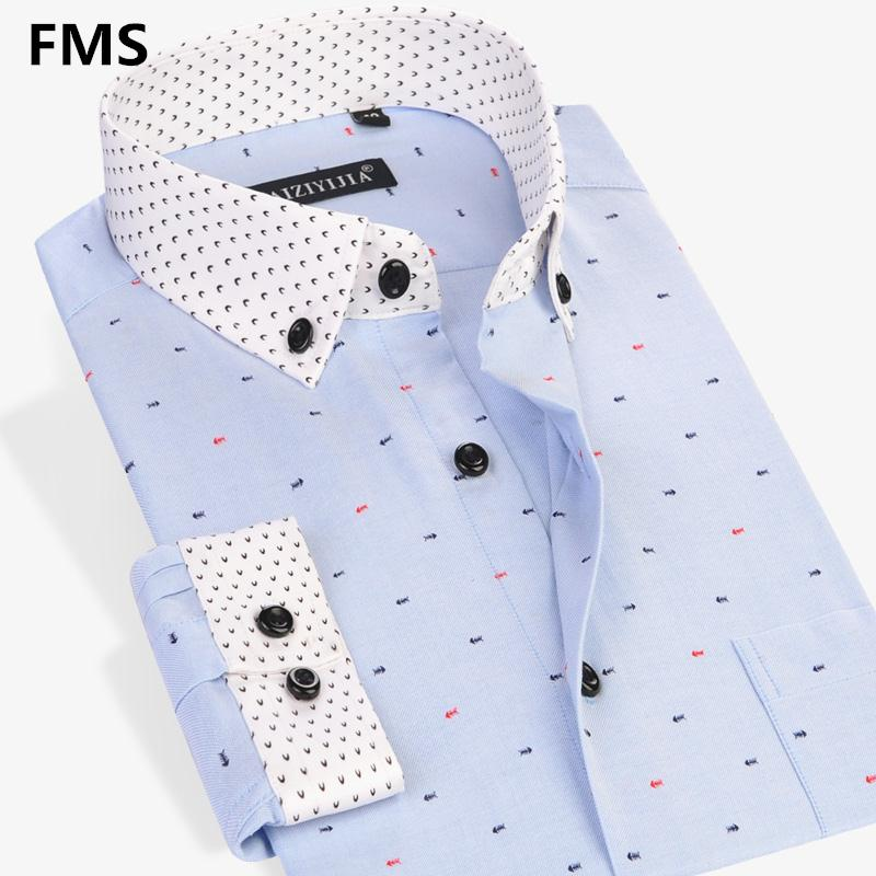 Men Fashion Fish Bone Printing Casual Shirt Long Sleeve Cotton Polyester Formal Business Male Dress Shirts Plus 4XL High QualityОдежда и ак�е��уары<br><br><br>Aliexpress