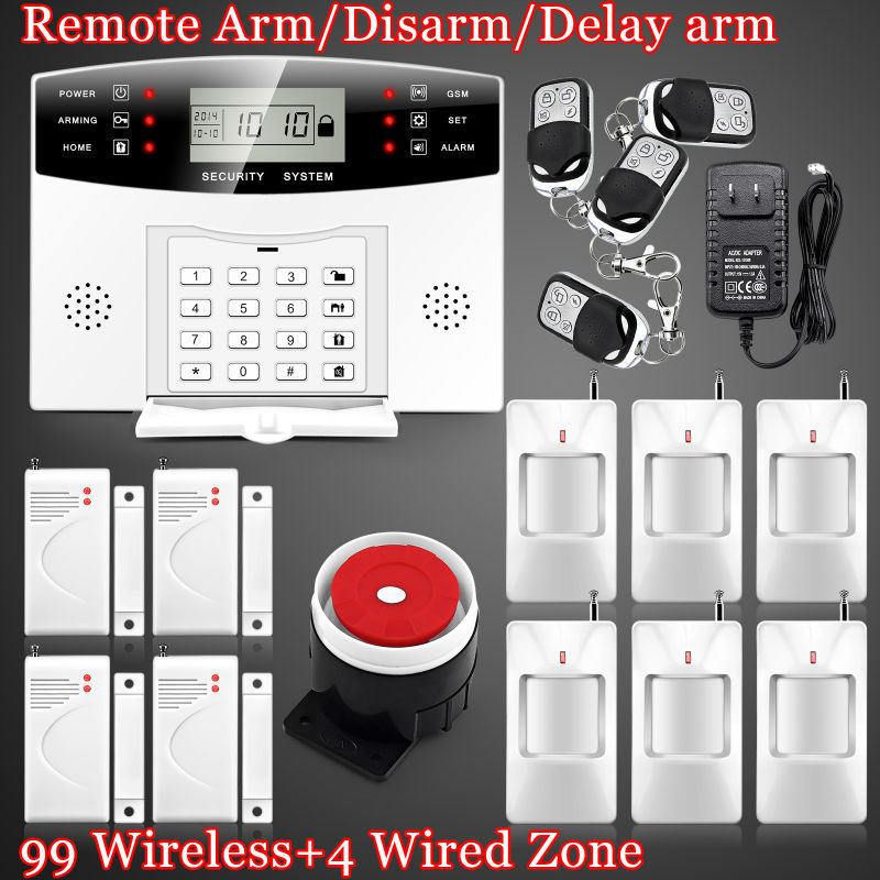 LCD 99 Wireless 4 wired GSM SMS SIM home Security Burglar Phone Alarme Secur System for intercom security Remote Aarm/Disarm <br><br>Aliexpress