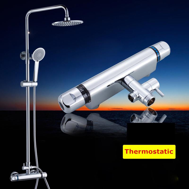 Термостатический Смеситель для ванной регулировки по высоте ручной душ хромированная отделка настенное крепление большой тропический душ Смеситель горячей и холодной