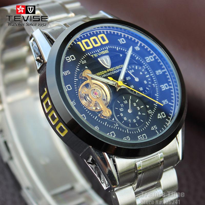 С 2015 стали военная мода self-ветер relogios автоматические часы свечение руки турбийоном мужчины турбийон часы