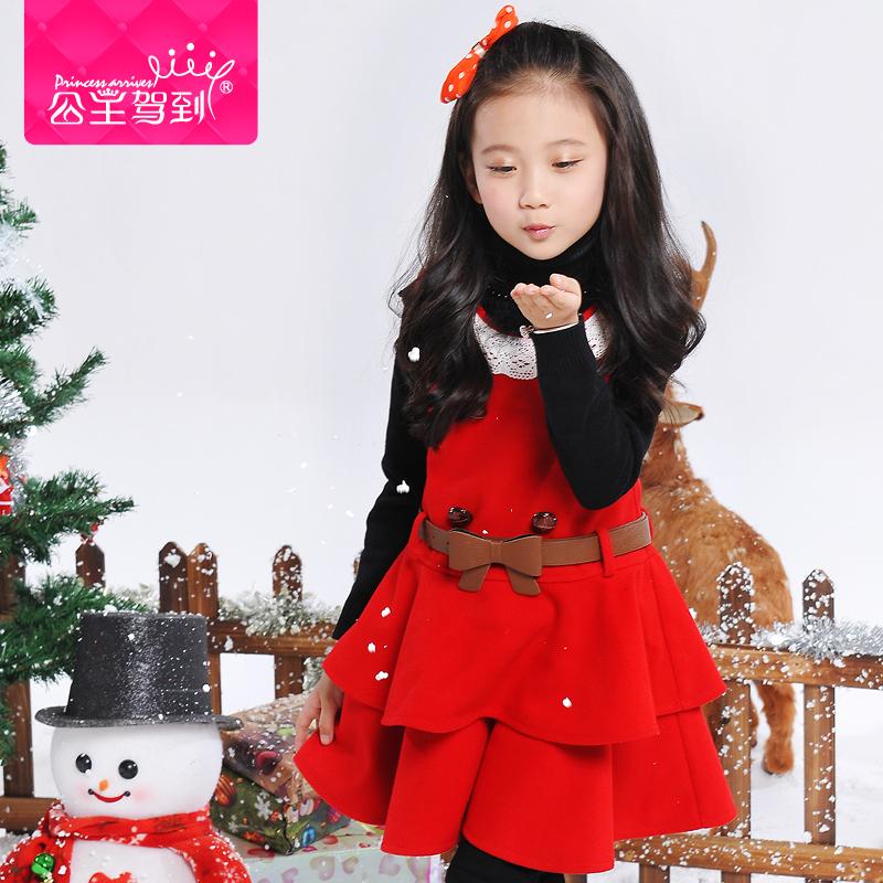 Princess children's clothing 2014 winter girls child woolen dress girls princess dress one-piece dress(China (Mainland))