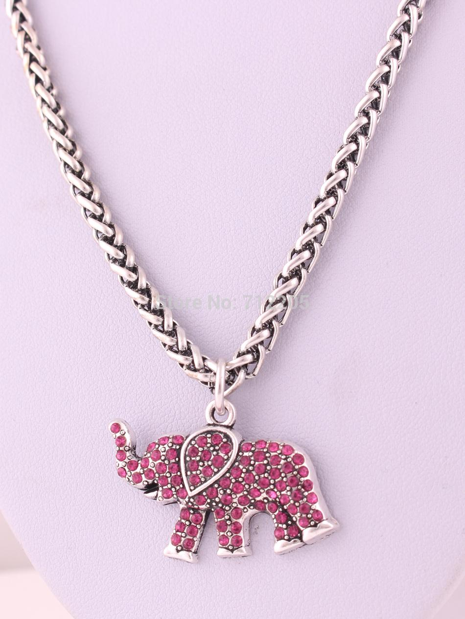 10pcs a lot zinc alloy Elephant Rose Red Crystal wild Animal Pendant with wheat link chain lobster clasp necklace(China (Mainland))