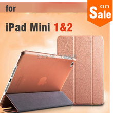 Luxury Smart Wake Sleep Folio Stand three fold Silk Leather Case Cover for  Apple iPad Mini 1 2 Pad mini with retina fundas capa