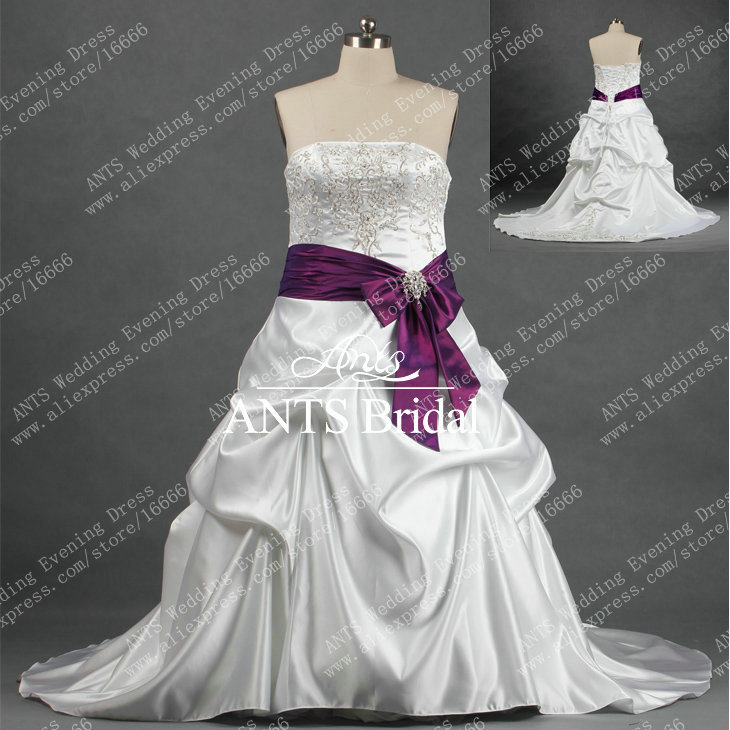 Rw254 autumn embroidery sash purple white wedding gown for Wedding dress with purple embroidery