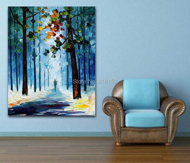 Palette knife painting autumn foggy forest modern landscape ...