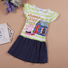 2016 summer baby girls dress princess cotton cartoon pig striped sleeve lace dresses child clothing kids clothes
