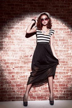 Free shopping/Cotton + nets yarn/stripe/elastic/long skirt/maxi/dress/Patchwork/RG1204014