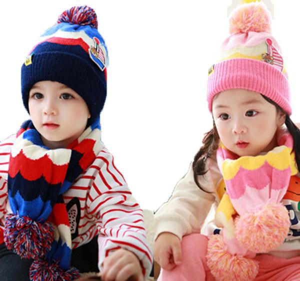 Retail Unisex Child Sailboat Little Bear Beanies Bobble Hat Set Baby Kids Knit Cap and Wave Pattern Scarf Warm Suit Set MZ3087(China (Mainland))