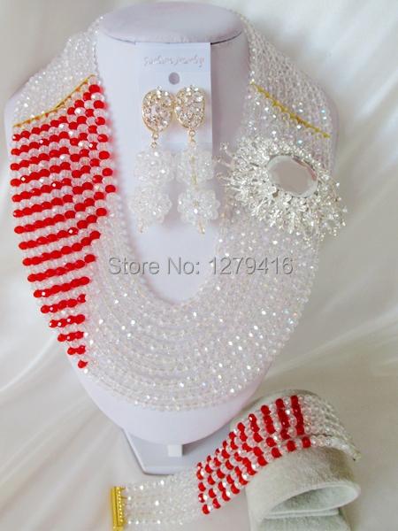 Fashion Nigerian African Wedding Beads Jewelry Set , Crystal Necklace Bracelet Earrings Set C1278<br><br>Aliexpress
