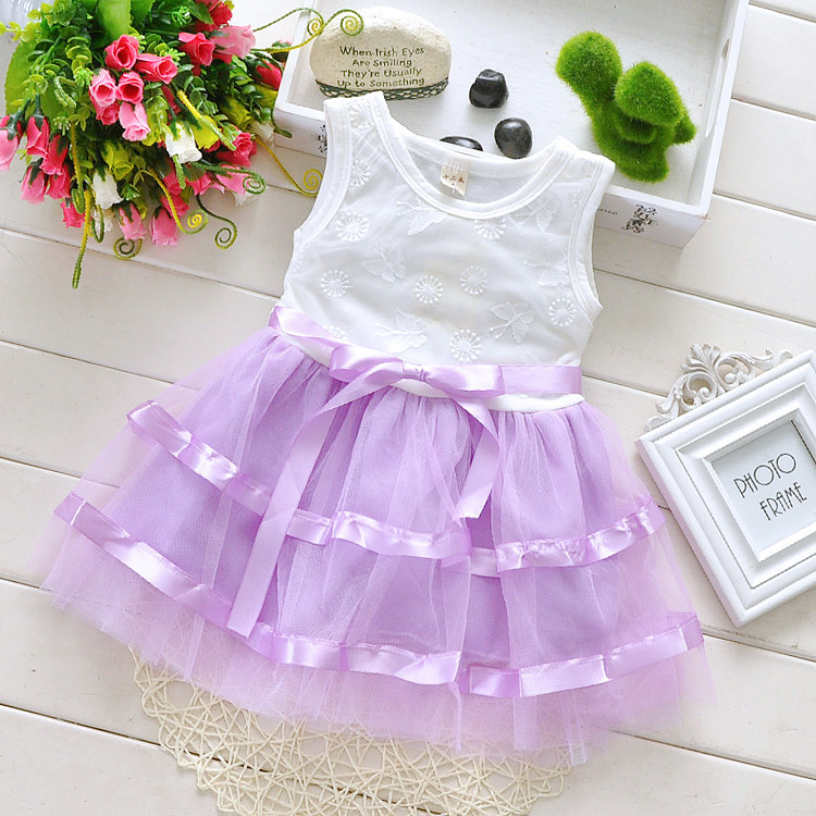 Baby Girls Store Promotion2015 Summer Kids For Gils Children's Clothing Ribbon Lace Dress Cute Kids Dresses Free Shipping BD0283(China (Mainland))