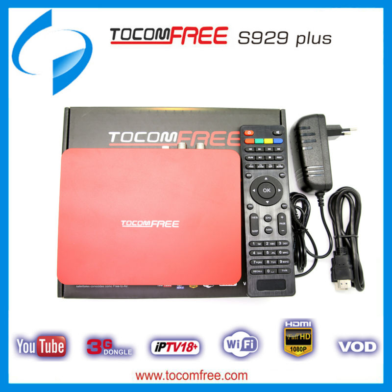 TocomFREE S929 Plus HD IPTV PVR 3G FTA SATELLITE RECEIVER HDMI + antenna USB Receiver IKS+SKS WIFI IPTV TWIN TUNER South America(China (Mainland))