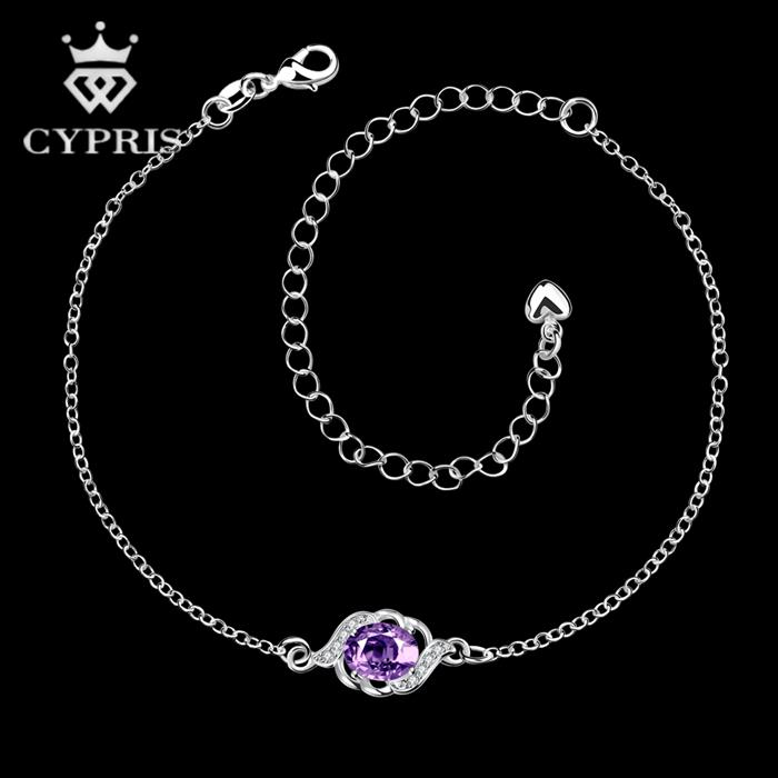 A002-B 52% OFF CYPRIS Delicate lady Cheap silver Anklet foot bracelet On Sale sexy lady cz stone wholesale bulk luxury gift(China (Mainland))