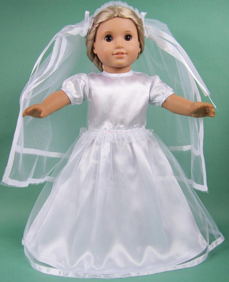 Hot selling 2015 popular 18 inch american girl doll for American girl wedding dress