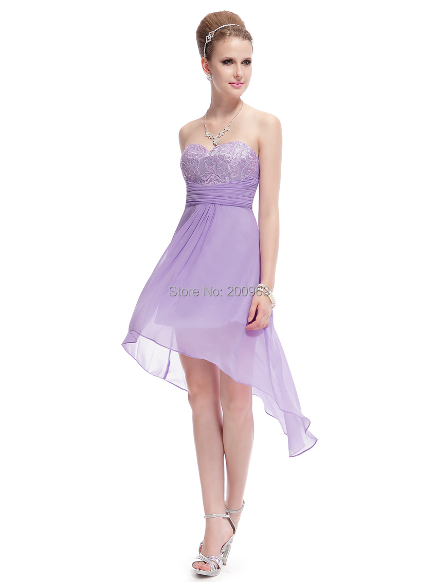 Cocktail dress he03983qp strapless light purple lace hi for Purple summer dresses for weddings