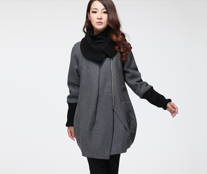 Fall winter clothes large size wool coat Girls Long woolen ...