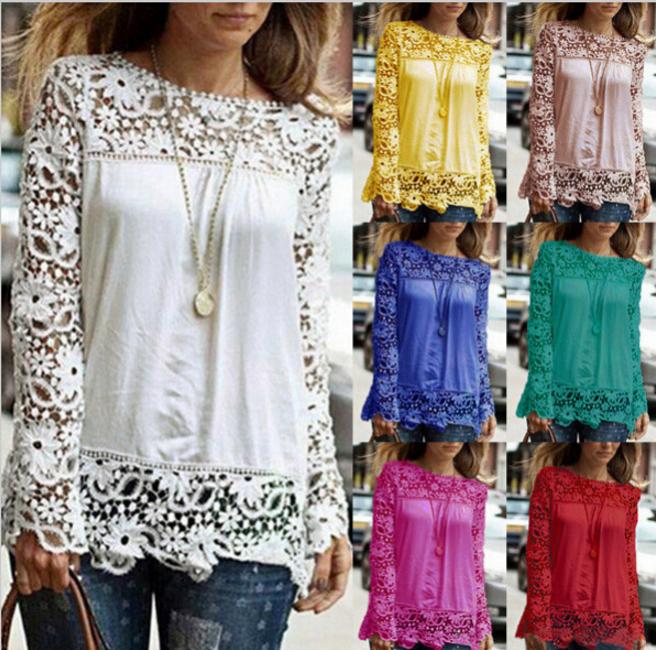 2016 new Women White Crochet Lace Shirt Female Floral Lace Long Sleeve Chiffon Blouse Lace Blusas Plus Size S-5XL(China (Mainland))
