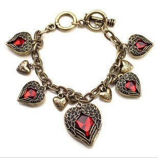 Free shipping, Classical vintage European heart bracelet, Charming costume jewelry, Factory direct