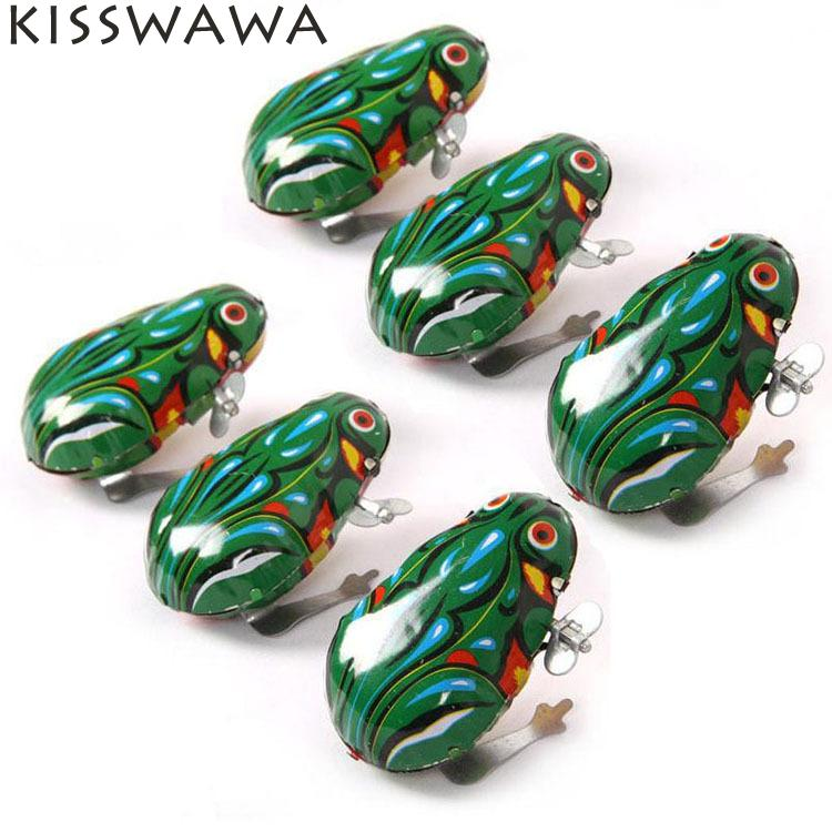 KISSWAWA Spring Wind Up Kids Classic Tin Clockwork Toys Jumping Frog Vintage Toy For Children Boys Educational Free Shipping(China (Mainland))