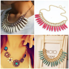 2015 New Fashionable Bright Flower Necklace Collar Charm Rhinestone Bib Statement Necklace and Pendant Gift(China (Mainland))