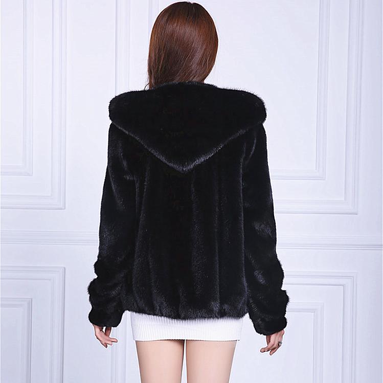 2016 New women fur outerwear short design marten overcoat with a hood plus size loose high imitation mink fur coat(China (Mainland))