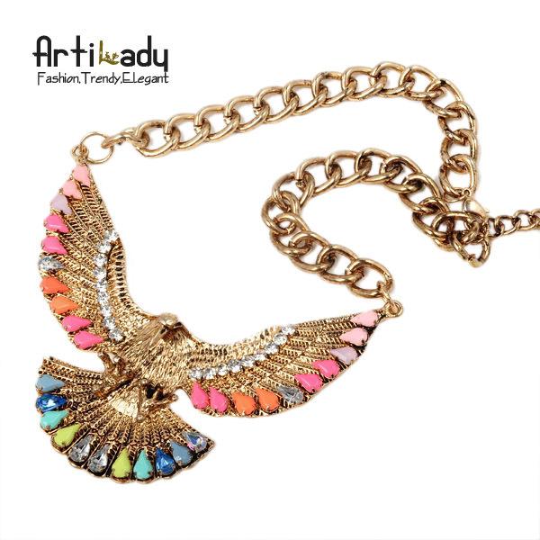 Artilady  fashion eagle necklaces pendents statement necklace jewelry 2015 unique necklaces for women two colors!