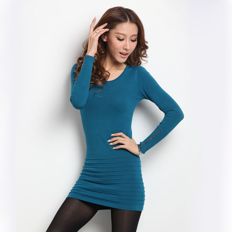 2016 Women Sweater Dress Korean Fashion O-neck Long Sleeve Solid sweaters pullovers Ladies Mid-long Casual Dresses. - TOP store