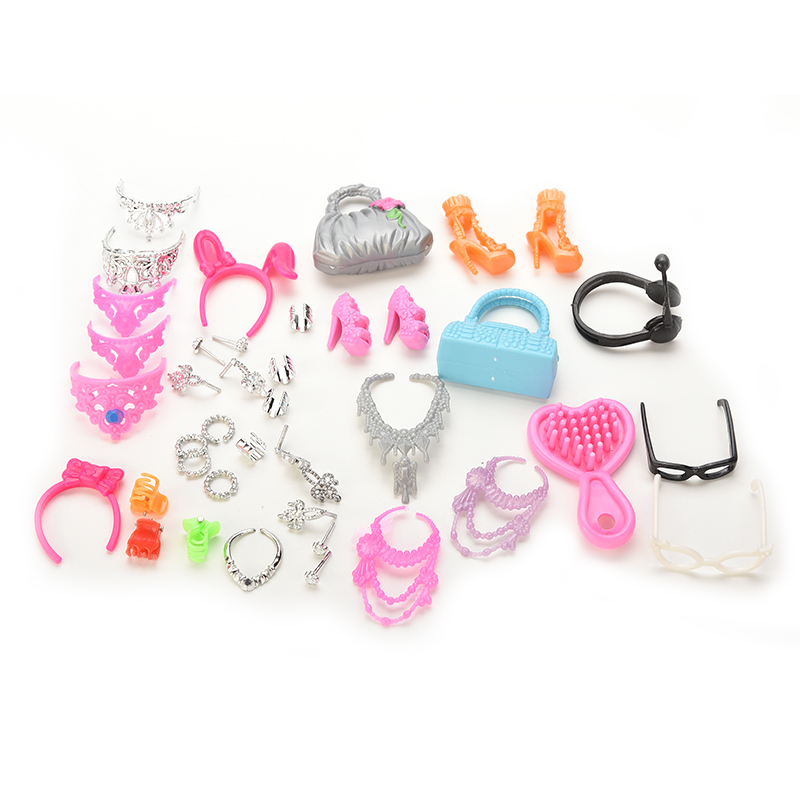 1 Set Fashion Jewelry Necklace Earring Bowknot Crown Accessory For Barbie Dolls Kids Gift