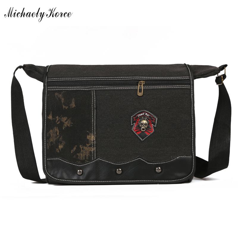 ANNY - Trendy Canvas Flap Book Bag For Male Casual Punk Skull And Rivet Shoulder Bag Modish Letter Printing Messenger Bag Bolsa(China (Mainland))