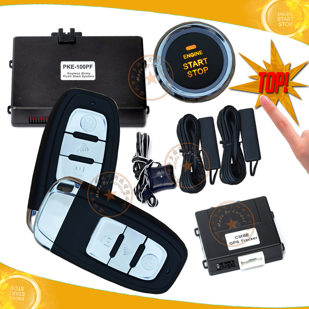 top quality GSM car alarm system with GPS real time online tracking morse decorder unlock and start ignition start stop button(China (Mainland))