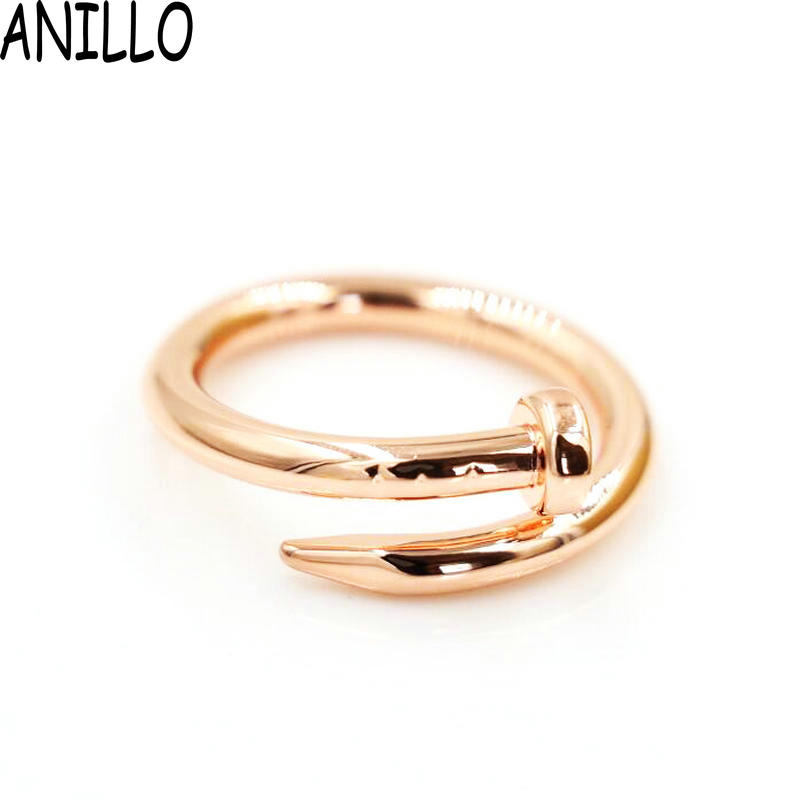 ANILLO Brand Feminina 2017 New Irregular Gold Color Ring Stainless Steel Screw Ring Women 4 Colour Jewelry(China (Mainland))