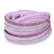 Kejialai Wrap Bracelet Women Leather Crystal Bracelet Full Pave Crystal Wrapped Bracelets Women Fashion Jewelry Unisex KJL003(China)