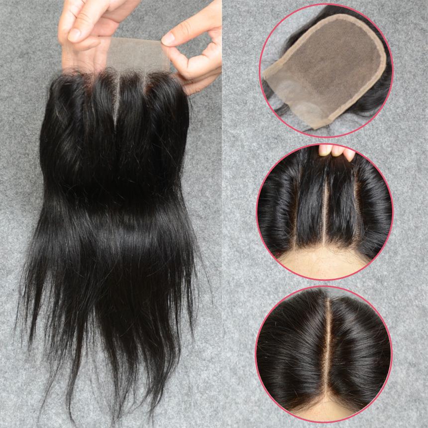 brazilian lace closure bleached knots 8a virgin human hair