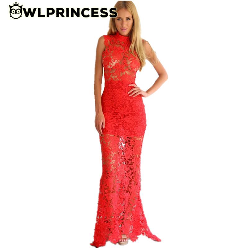 Owlprincess 2016 Sexy Lace Dress Women Hollow Out Maxi Crochet White Black Red Boho Party Turtleneck Floor Length Long Dresses(China (Mainland))