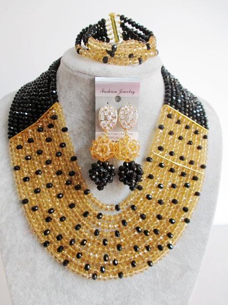 2016-Luxury African beads jewelry set Black Crystal beads bride jewelry nigerian wedding african beads jewelry Set KL-835<br><br>Aliexpress