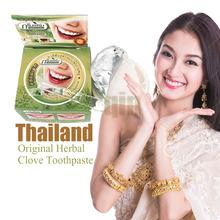 Thailand original herbal clove toothpaste anti-bacteria,whitening,remove smoke tea yellow stains plaque to halitosis oral care(China (Mainland))