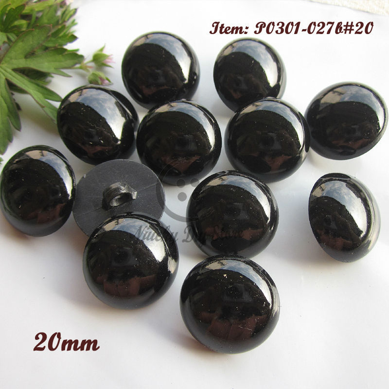 Sewing supplies 60pcs 20mm shank black buttons plastic animal eyes doll decorative accessories sewing material wholesale(China (Mainland))