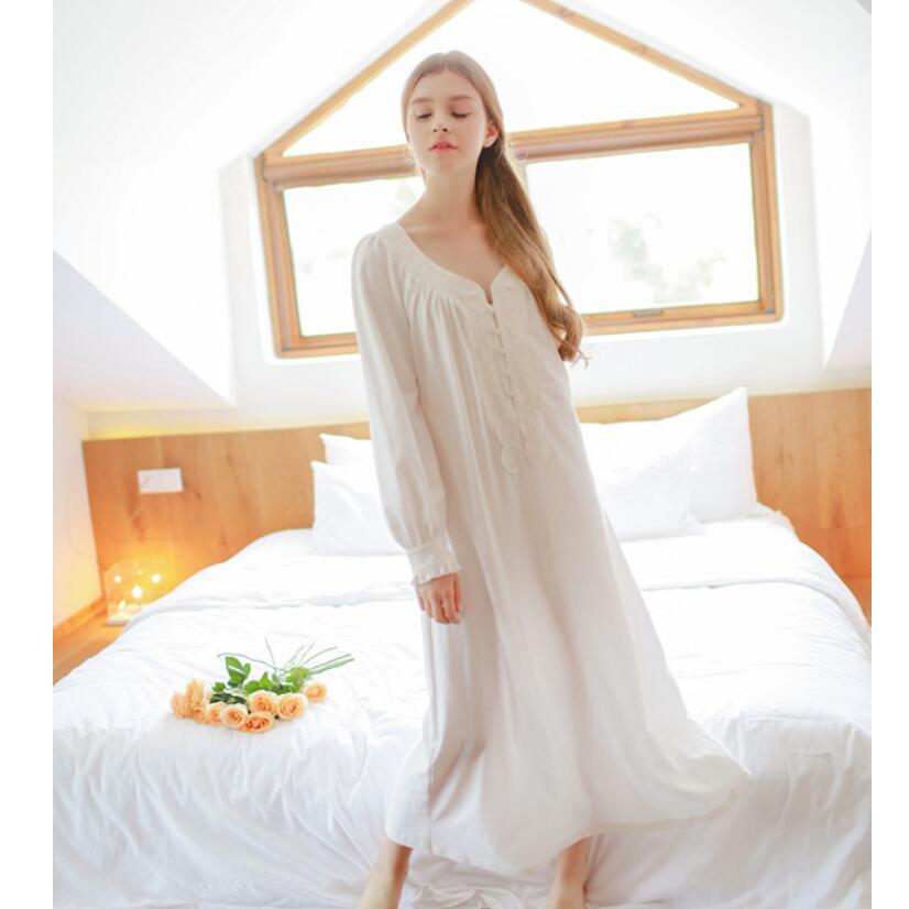 Pure European Style Nightgown For Women Princess Nightdress Cotton Lace Sleepwear Free Shipping<br>