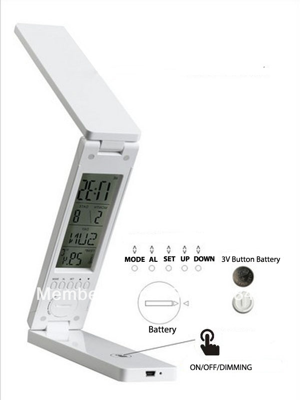 Battery Rechargeable 1.5W Folding Reading Lamp LED Calendar Clock Alarm Control Thermometer table - B-T Shop store