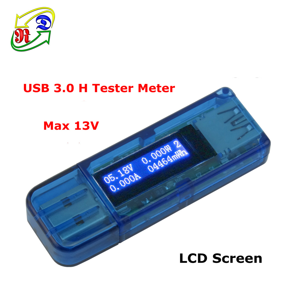 RD LCD USB 3.0 H white 4 bit detector USB voltmeter ammeter power capacity tester meter voltage current power bank(China (Mainland))