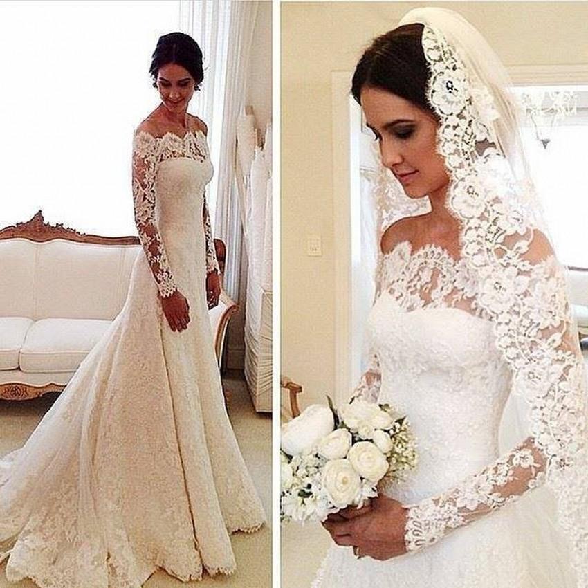 New Arrival Long Sleeve Lace Wedding Dress 2015 Elegant Off The Shoulder A Li