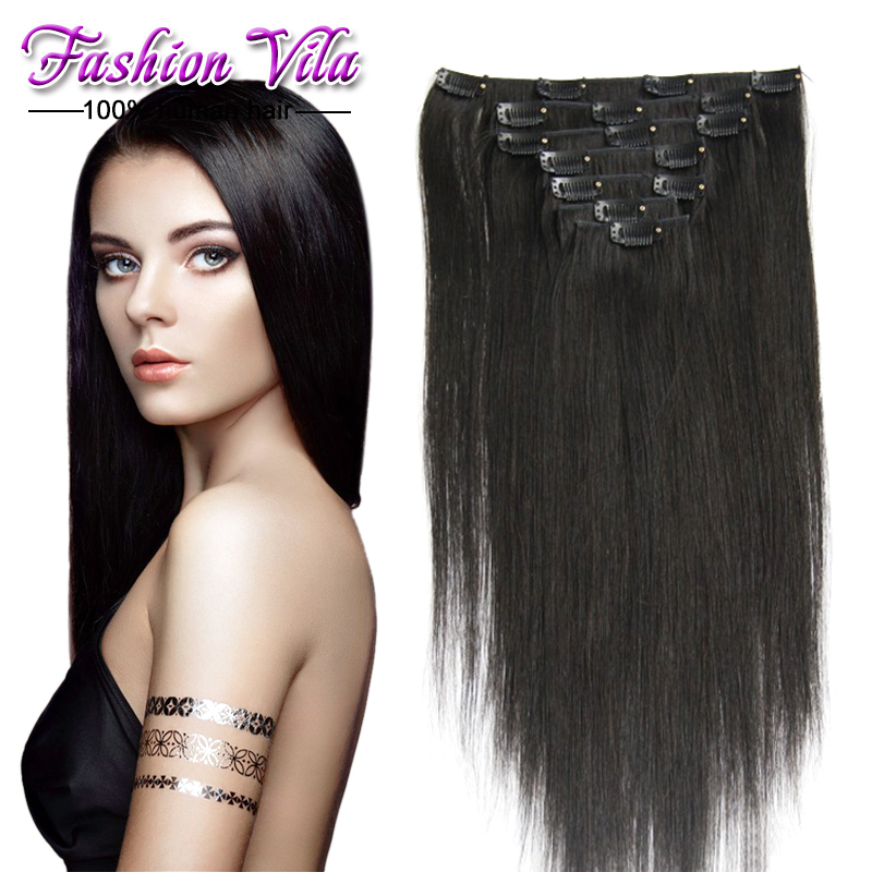 2015 fashion style Clip in Human Hair Extensions brazilian remy hair Straight #1b clip in hair extension real human hair weaves<br><br>Aliexpress