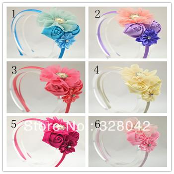 Trail order girl chiffon flower headband satin ribbon rose flower with rhinestone pearl Button hairband hair accessory 20pcs/lot